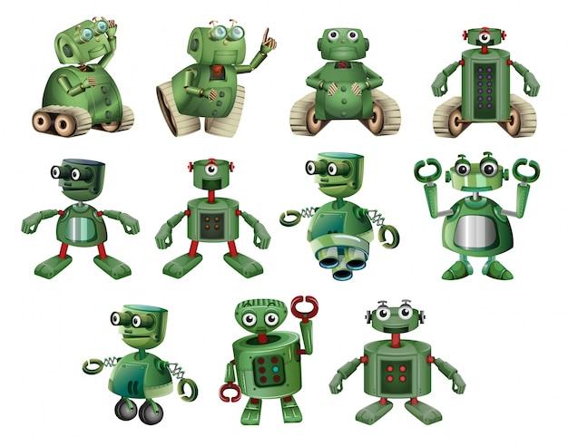 Zielone robotów w różnych działaniach