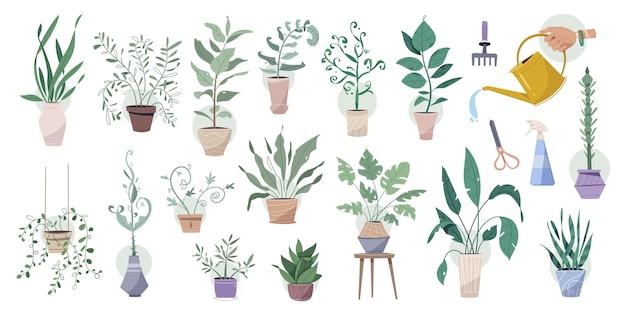 Zielone rośliny w doniczkach z dużym zestawem narzędzi ogrodniczych. drzewa doniczkowe, doniczki wiszące stylizowane wewnątrz. konewka, maszynka do strzyżenia, grabie, pistolet natryskowy