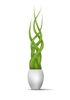 Zielone rośliny w wazonie. ilustracja wektorowa