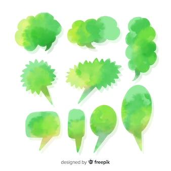 Zielone, różnorodne akwarele dymki