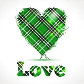 Zielone serce z pozdrowienia miłość zarejestruj pocztówka na s patricks dni ierland tle
