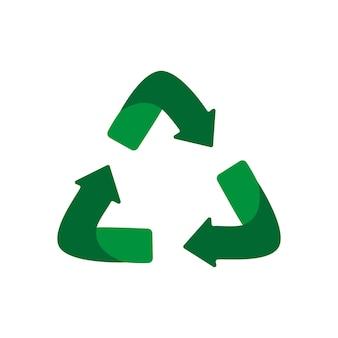 Zielone strzałki recyklingu eko symbol. zielony kolor. znak z recyklingu. ikona recyklingu. symbol surowców wtórnych. płaski projekt wektor ilustracja na białym tle