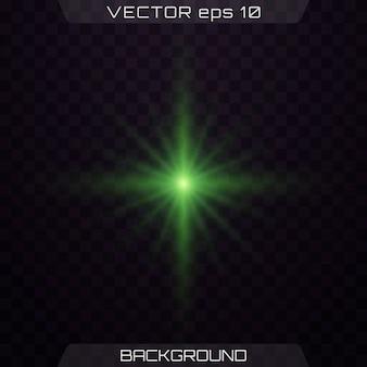 Zielone światła gwiazd, flara, eksplozja, blask, błysk.