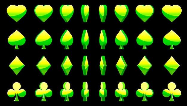 Zielone symbole kart pokera 3d, rotacja gier animacyjnych