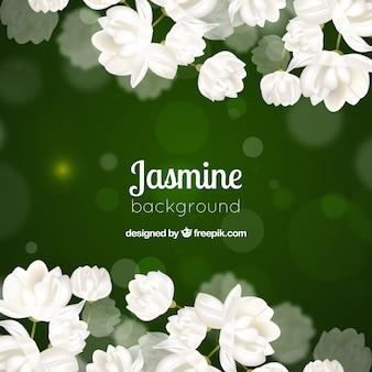 Zielone tło bokeh białych kwiatów