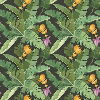 Zielone tło botaniczne z liści tropikalnych palm bananowych, kwiatów, owoców i gałęzi. wzór, papier pakowy lub nadruk tekstylny, projekt ornamentu tapety rainforest. ilustracja wektorowa