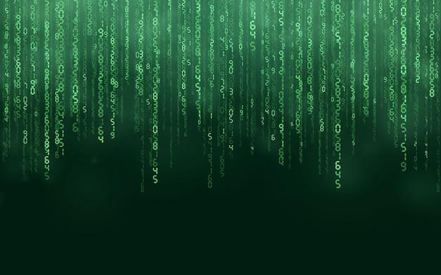 Zielone Tło Cyfrowe Matrycy. Spadające Liczby Cyfrowa Technologia Sieciowa. Futurystyczna Cyberprzestrzeń. Ilustracja Wektorowa. Premium Wektorów