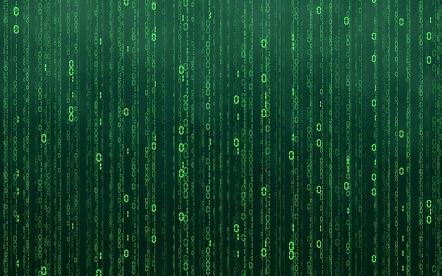 Zielone tło cyfrowe matrycy. spadające liczby cyfrowa technologia sieciowa. futurystyczna cyberprzestrzeń. ilustracja wektorowa.