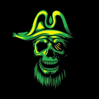 Zielone tło czaszki piratem