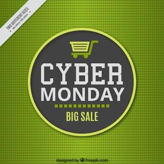 Zielone tło dla cyber poniedziałek w stylu płaskiej