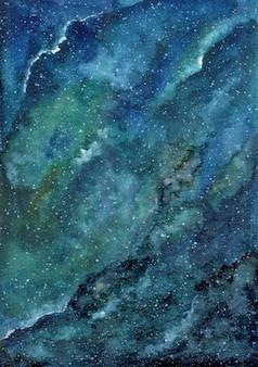 Zielone tło niebieskie galaktyki akwarela