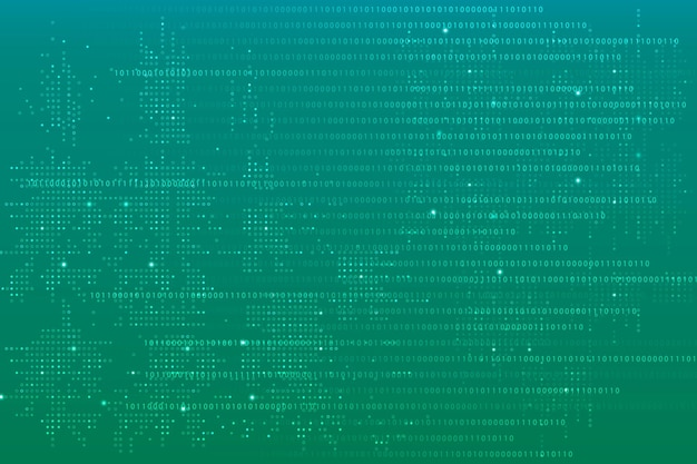 Zielone tło technologii danych z kodem binarnym