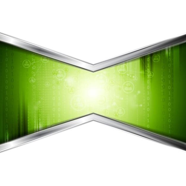 Zielone tło technologii z metalowymi paskami. projekt wektorowy