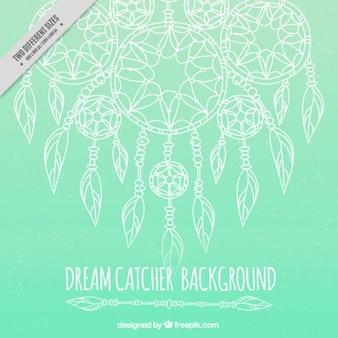 Zielone tło z ręcznie rysowane łapacze snów
