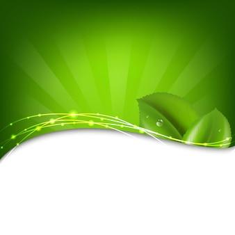 Zielone tło z sunburst i liść z gradientową siatką