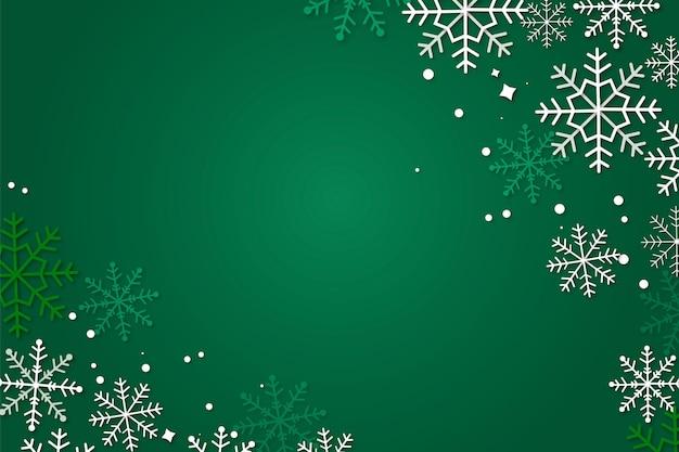Zielone tło zima w stylu papieru