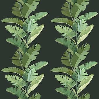 Zielone tropikalne liście palmowe bananowe i gałęzie, botaniczny zwrotnik wydruku na ciemnym tle. geometryczny wzór, ozdobna tapeta z lasem deszczowym, papier lub tkanina. ilustracja wektorowa