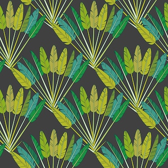 Zielone tropikalne liście palmowe i gałęzie, botaniczny zwrotnik druku na czarnym tle. geometryczny wzór, ozdobna tapeta z lasem deszczowym, papier lub tkanina. ilustracja wektorowa