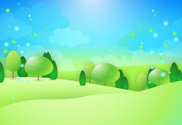 Zielone wzgórza z drzewami