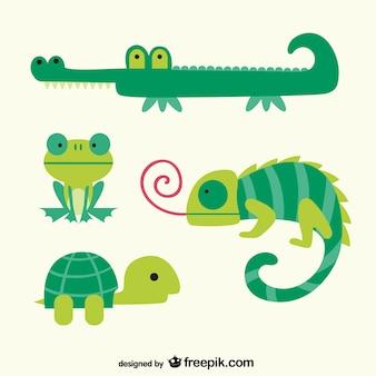 Zielone zwierzęta kreskówki