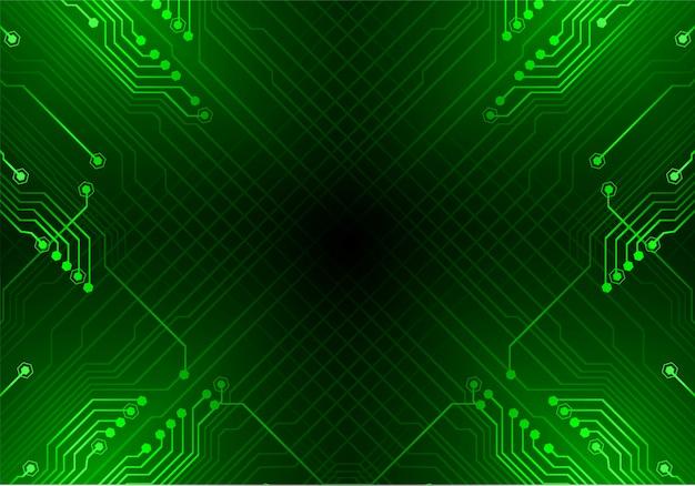 Zielonego cyber obwodu technologii przyszłościowy tło