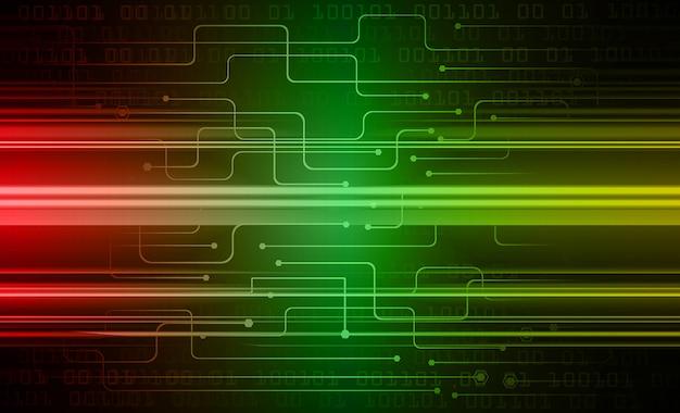 Zielonego czerwonego cyber obwodu technologii przyszłościowy tło