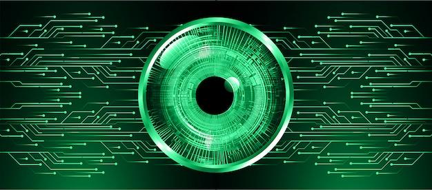 Zielonego oka cyber obwodu technologii pojęcia przyszłościowy tło