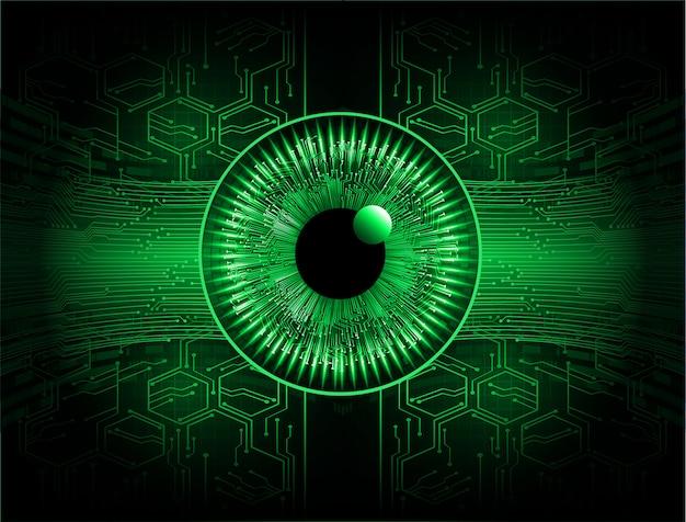 Zielonego oka cyber obwodu technologii przyszłościowy tło