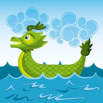 Zielonego smoka chineese łódkowata denna kreskówka