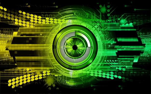 Zielonego żółtego oko cyber obwodu technologii przyszłościowy tło