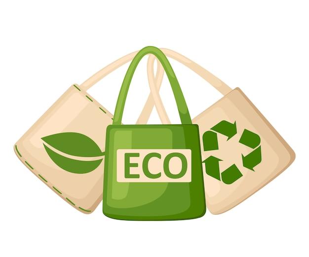 Zielono-beżowa tkanina lub papierowa torba. torby z recyklingiem, zielonym liściem i symbolami eko. zapasowe torby plastikowe. oszczędzaj ekologię ziemi. ilustracja na białym tle