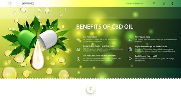 Zielono-biały baner internetowy na stronę internetową z kroplą oleju cbd i zielonymi liśćmi konopi na tle kropli oleju. zastosowania medyczne oleju cbd, korzyści płynące z używania oleju cbd.
