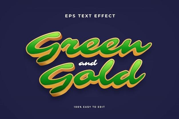 Zielono-złoty efekt tekstowy 3d