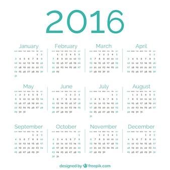 Zielony 2016 kalendarz