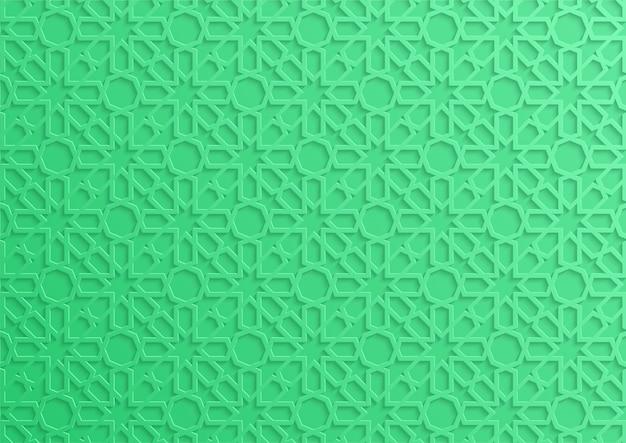 Zielony 3d islamski wzór geometryczny