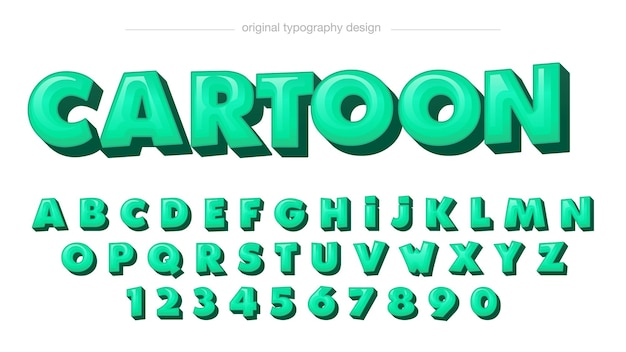 Zielony 3d kreskówka zaokrąglona typografia