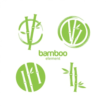 Zielony bambusowy graficznego projekta szablonu wektor