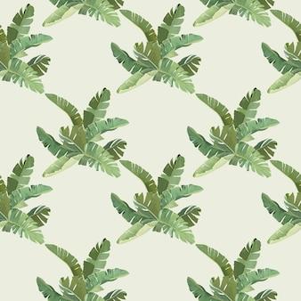 Zielony banan tropikalnych liści palmowych i oddziałów wzór, botaniczny zwrotnik wydruku na beżowym tle. projekt papieru lub tkaniny, ozdobna tapeta z lasem deszczowym. ilustracja wektorowa