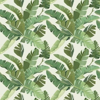 Zielony banan tropikalnych liści palmowych i oddziałów wzór. projekt papieru lub tkaniny, ozdobna tapeta z lasem deszczowym. botaniczny tropik drukuj na beżowym tle. ilustracja wektorowa