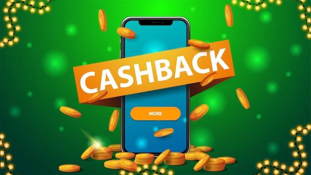 Zielony baner cashback z dużym telefonem ze złotymi monetami, złote monety spadające z góry, duża wstążka z tytułem i przyciskiem na ekranie