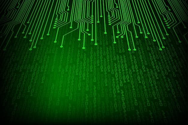 Zielony binarny obwód cyber przyszłości koncepcja technologii