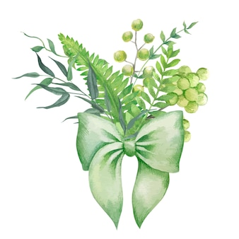 Zielony bukiet paproci i ziół z zieloną kokardą