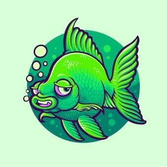 Zielony charakter rybki