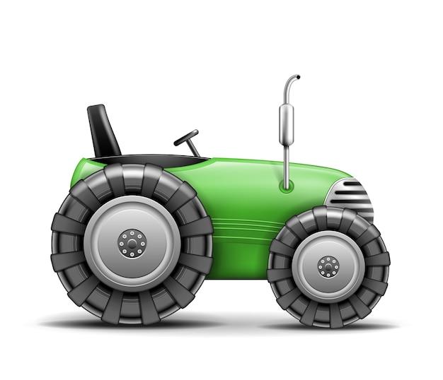 Zielony ciągnik rolniczy na białym tle