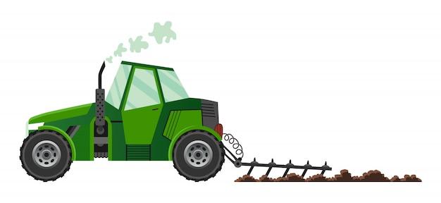 Zielony ciągnik rolniczy uprawia ziemię. ciężkie maszyny rolnicze do transportu prac polowych w gospodarstwie w stylu płaskiej. ciągnik rolniczy. odosobniony mieszkanie styl, ilustracja