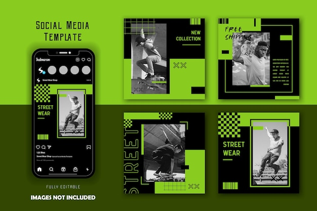 Zielony czarny miejski street wear moda męska social media posty zestaw szablonów