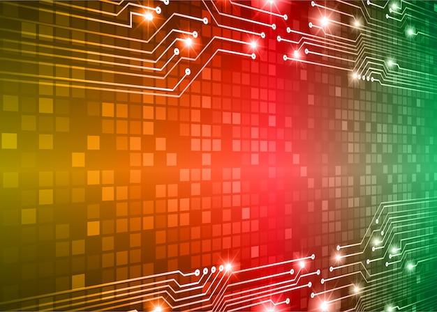 Zielony czerwony żółty obwód cyber przyszłości technologii koncepcja tło