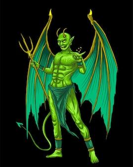 Zielony diabeł ilustracja premium wektor