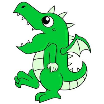 Zielony dinozaur działając śmieszne spacery dziwne, wektor ilustracja sztuki. doodle ikona obrazu kawaii.