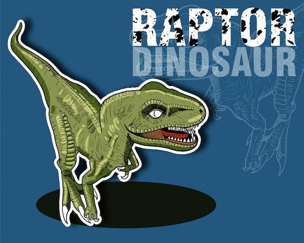 Zielony dinozaur raptor na niebieskim tle